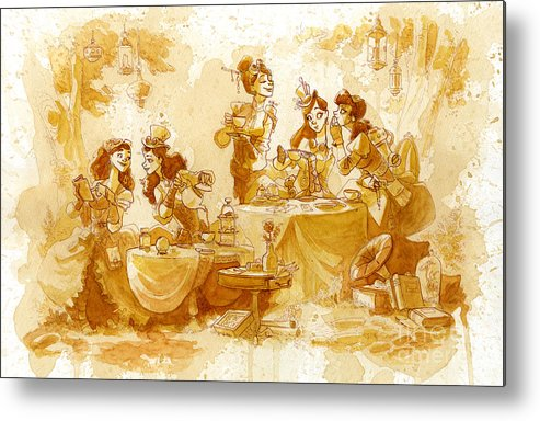 Steampunk Metal Print featuring the painting Garden Party by Brian Kesinger