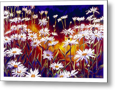 Daisy Daisies Field Flowers Warm Colors Cool Day Blues Metal Print featuring the painting Give Me Your Answer Do by Mike Hill