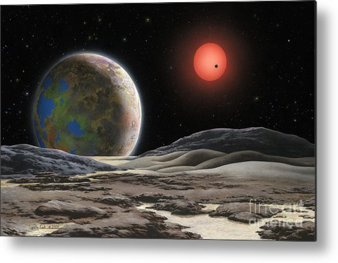 Lynette Cook Metal Print featuring the painting Gliese 581 C by Lynette Cook