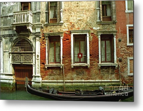 Venice Metal Print featuring the photograph Gondola In Front Of House In Venice by Michael Henderson