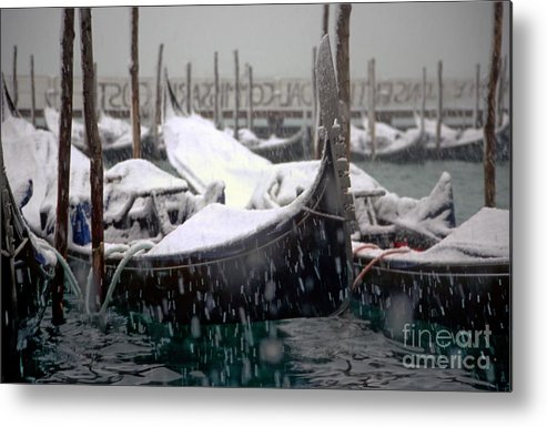 Venice Metal Print featuring the photograph Gondolas In Venice In The Snow by Michael Henderson