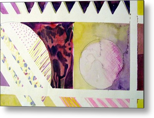 Abstract Metal Print featuring the painting Grapes And Cheese Wedges by Mindy Newman