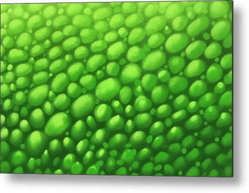 Lizard Metal Print featuring the painting Green Scales by Derek Donnelly