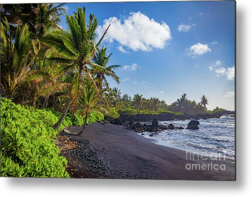 America Metal Print featuring the photograph Hana Bay Palms by Inge Johnsson