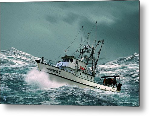Fishing Vessel In A Rough Sea. Metal Print featuring the digital art Heading For Shelter by John Helgeson