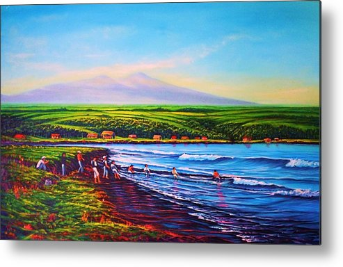 Seascape Metal Print featuring the painting Hilo Bay Net Fisherman by Joseph  Ruff