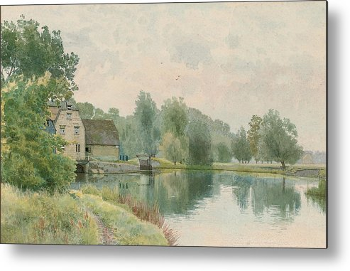 Landscape Metal Print featuring the painting Houghton Mill On The River Ouse by William Fraser Garden