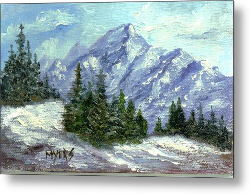 Ice Metal Print featuring the painting Icy Mountain by Rhonda Myers