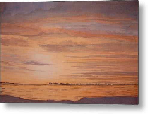 Landscape Metal Print featuring the painting January Sunrise by Lynn ACourt