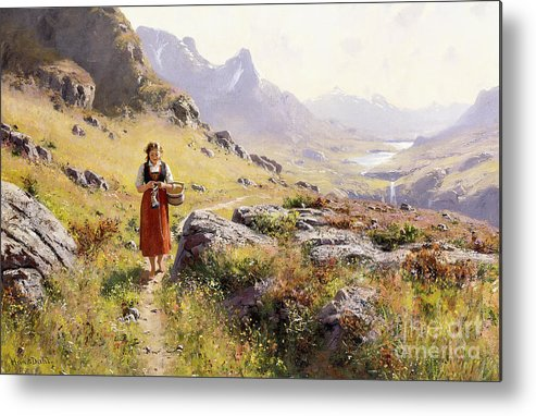 Scandinavian Metal Print featuring the painting Knitting In A Norwegian Landscape by Hans Dahl