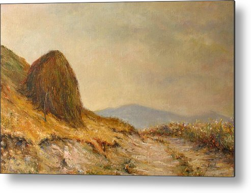 Armenia Metal Print featuring the painting Landscape With A Hayrick by Tigran Ghulyan
