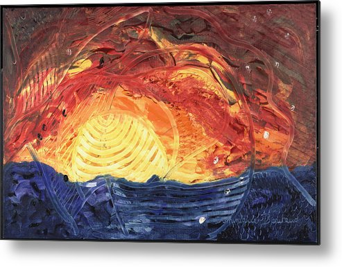 Abstract Metal Print featuring the painting Lever De Soleil by Dominique Boutaud