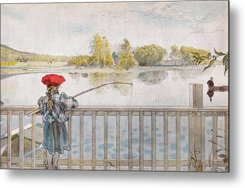 Nature Metal Print featuring the painting Lisbeth Angling. From A Home By Carl Larsson by Carl Larsson