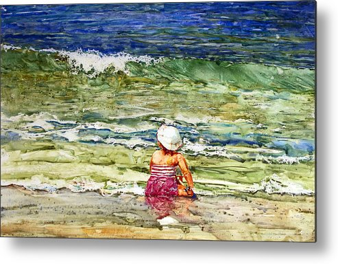 Beach Metal Print featuring the painting Little Girl On The Beach by Shirley Sykes Bracken