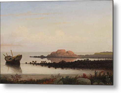Nature Metal Print featuring the painting Lumber Schooners At Evening On Penobscot Bay By Fitz Henry Lane, 1863 By Fitz Henry Lane by Fitz Henry Lane
