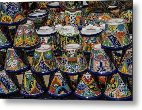 Flowerpots Metal Print featuring the digital art Mexican Flowerpots by Elisabeth Lucas