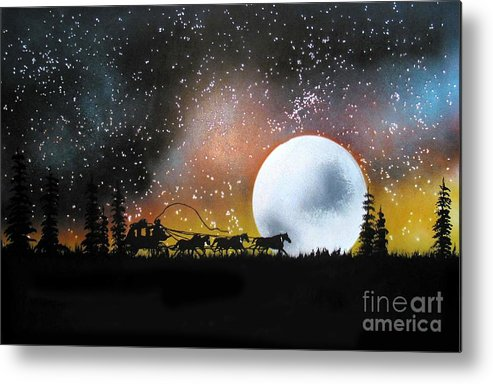 St. Louis San Francisco Stage Night Moon Stars Silouette Metal Print featuring the painting Midnight Run - St. Louis To San Francisco by Ed Moore