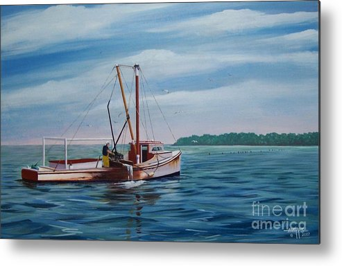 Chesapeake Bay Metal Print featuring the painting Mobjack Waterman by Hugh Harris