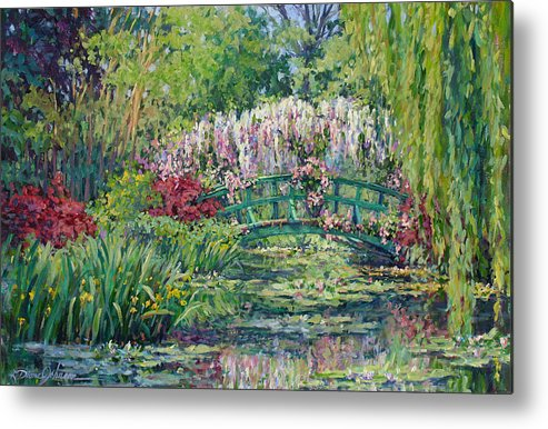 France Metal Print featuring the painting Monets Pond In Spring by L Diane Johnson