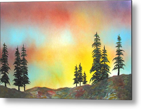 Mountain Morning High Sierra California Nature Wilderness Trees View Landscape Metal Print featuring the painting Mountain Morning In The High Sierra by Ed Moore