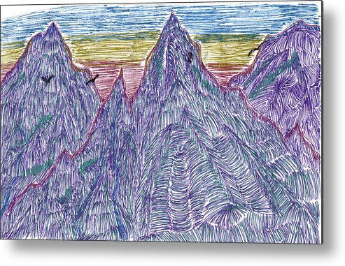 Metal Print featuring the drawing Mountains by Lynnette Jones