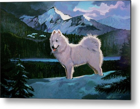 Dogs Samoyed Sled Dog Metal Print featuring the painting My Dog Blizzard . by Alan Carlson