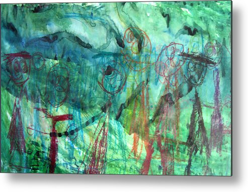 Alfred Resteghini Metal Print featuring the mixed media My Family by Alfred Resteghini