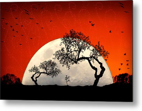 Moon Metal Print featuring the digital art New Growth New Hope by Holly Kempe