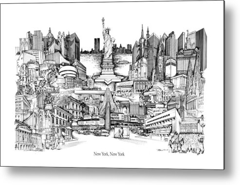 City Drawing Metal Print featuring the drawing New York by Dennis Bivens