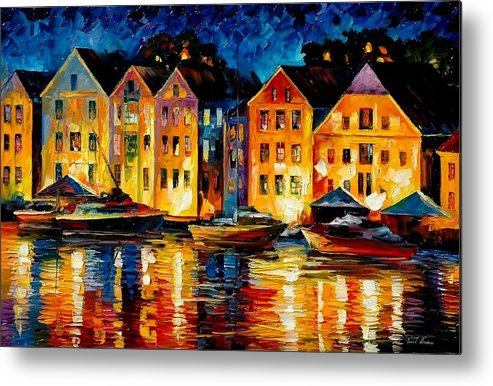 City Metal Print featuring the painting Night Resting Original Oil Painting by Leonid Afremov