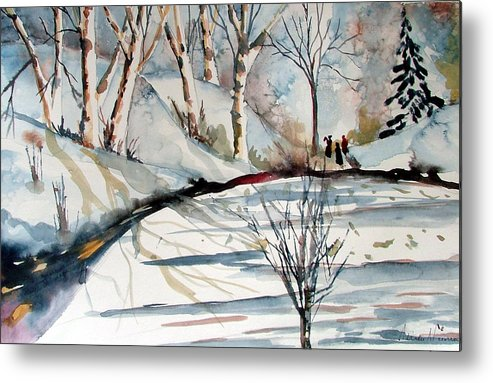 Winter Metal Print featuring the painting O Holy Night by Mindy Newman