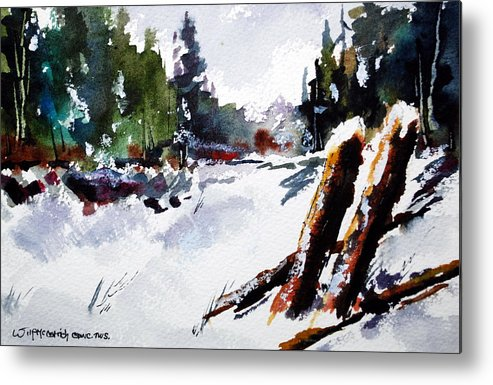 Two Old Farm Fence Posts Chat Together In A Field Of Freshly Fallen Snow. Metal Print featuring the painting Old Posts In Snow by Wilfred McOstrich