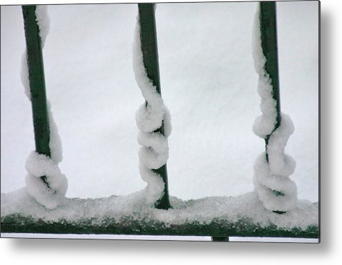 Snow Metal Print featuring the photograph On The Rails by Trinity Rose