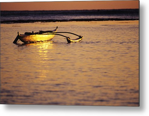 Aku Metal Print featuring the photograph Outrigger And Sunset by Joss - Printscapes