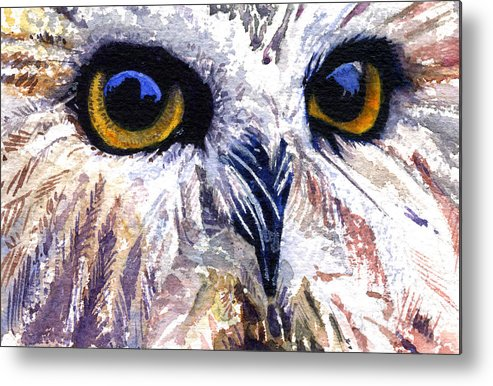 Eye Metal Print featuring the painting Owl by John D Benson