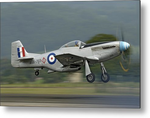 Warbird Metal Print featuring the photograph P-51 Mustang by Barry Culling