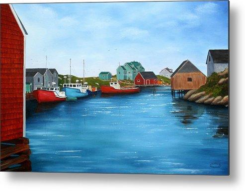Cove Metal Print featuring the painting Peggys Cove Nova Scotia by Sharon Steinhaus