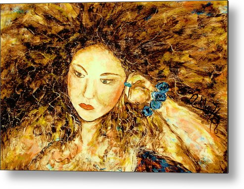 Portrait Metal Print featuring the painting Poet by Natalie Holland