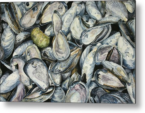 Mussel Shells Metal Print featuring the painting Point Pleasant Buffet Garden by Helen Shideler