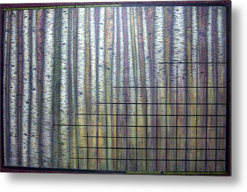 Birch Aspen Tree Quote Science Art Faces Metal Print featuring the painting Quantum Edith by Sally Van Driest