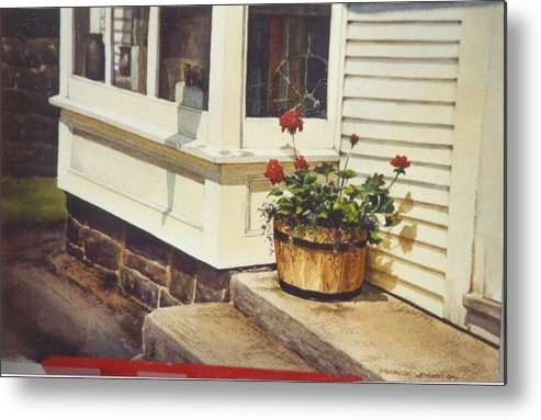 Flowers Metal Print featuring the painting Red Geraniums by Marion Hylton