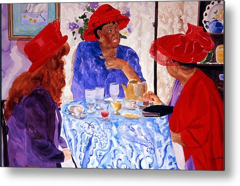 Red Hat Metal Print featuring the painting Red Hatters Chatter by Jean Blackmer