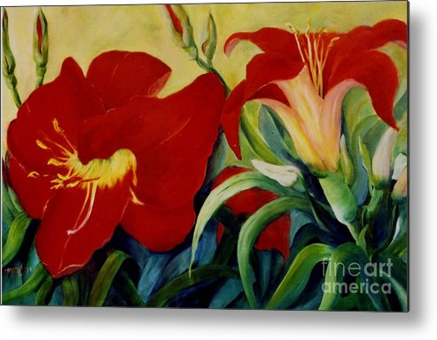 Flowers Red Lilies In Garden Metal Print featuring the painting Red Lily by Marta Styk