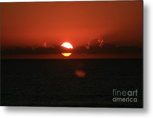 Sunset Metal Print featuring the photograph Red Sunset Over The Atlantic by Nadine Rippelmeyer