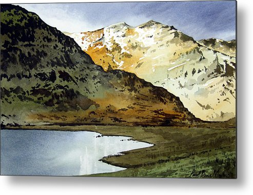 Watercolour Landscape Of Scottish Mountains Metal Print featuring the painting Rest And Be Thankful Pass by Paul Dene Marlor