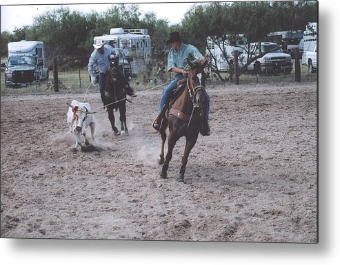 Horses Metal Print featuring the photograph Roping Event 4 by Wendell Baggett