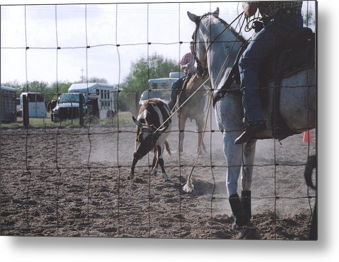 Horse Metal Print featuring the photograph Roping Event 5 by Wendell Baggett