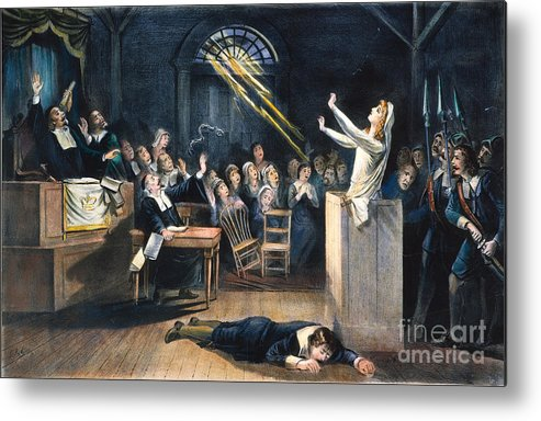 1692 Metal Print featuring the photograph Salem Witch Trial, 1692 by Granger