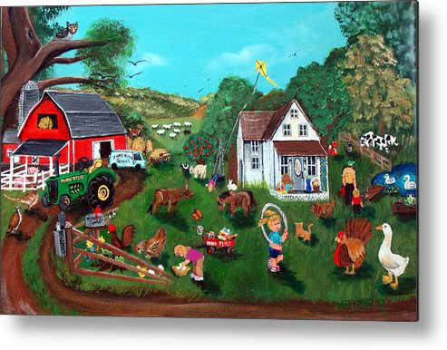 Farm Metal Print featuring the painting Samuels Alaphabet Farm by Darlene Green