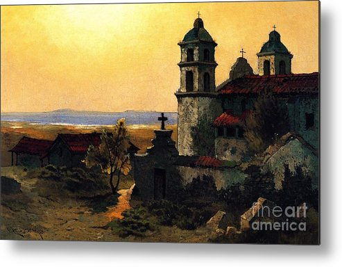 Pd Metal Print featuring the painting Santa Barbara Mission by Pg Reproductions